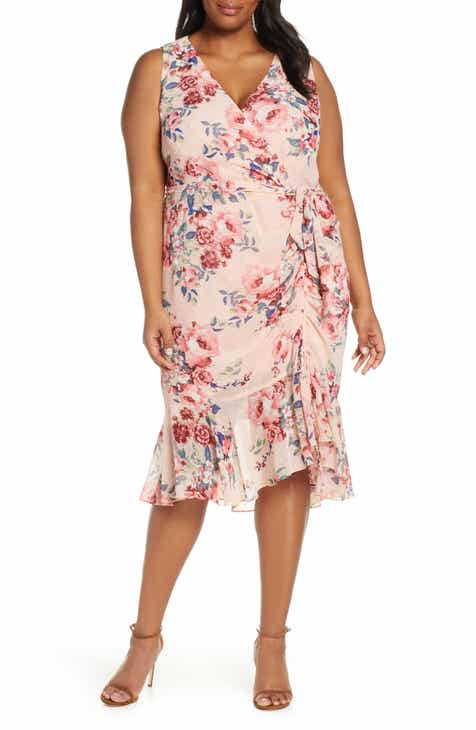 7c1e764ce205 Eliza J Floral Sleeveless Chiffon Dress (Plus Size)