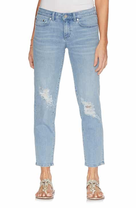 43ff5f92985c2 Vince Camuto Ripped Straight Leg Ankle Jeans (Oasis Blue)