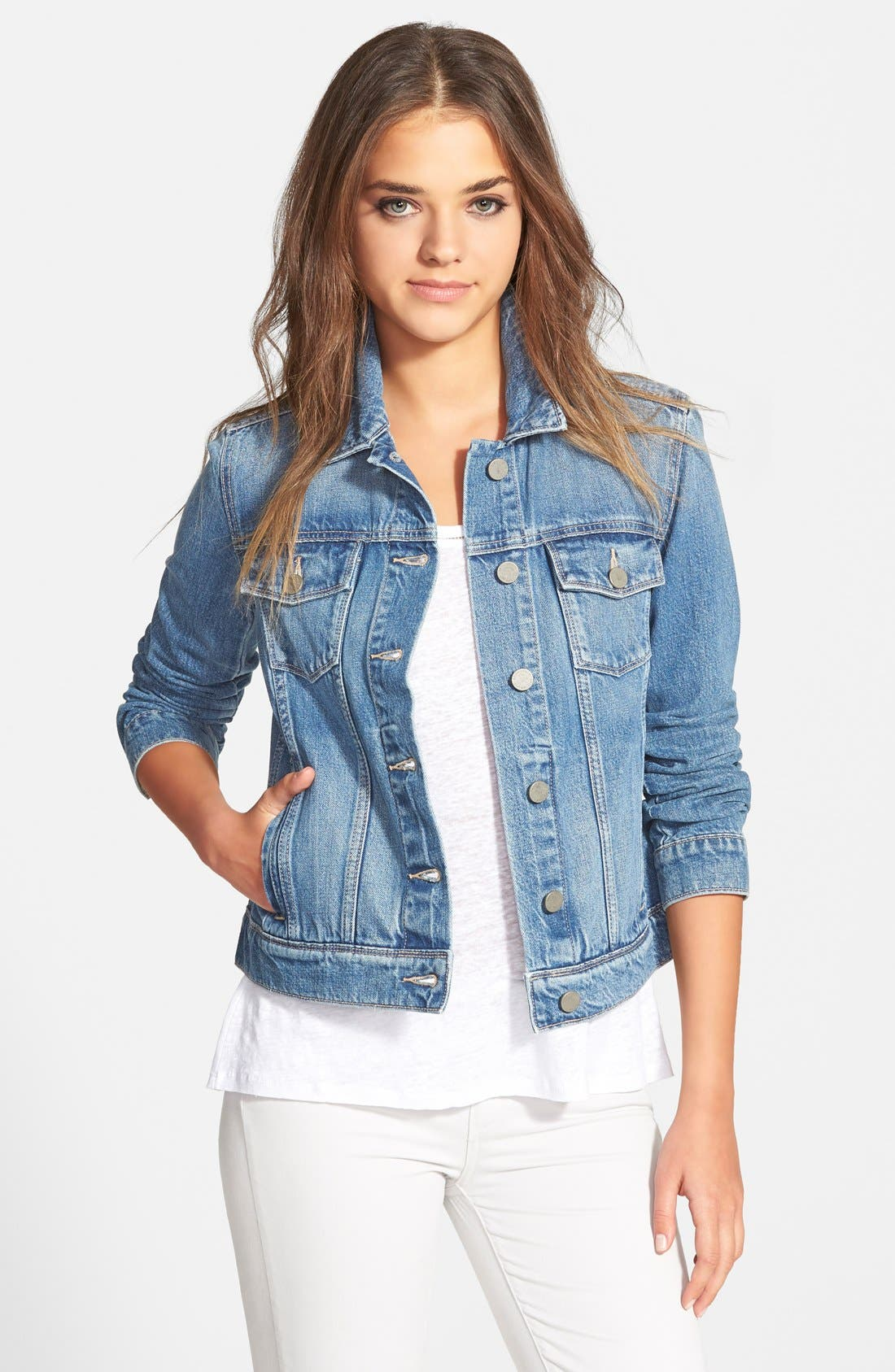 Paige Denim 'Rowan' Crop Denim Jacket (Stark)