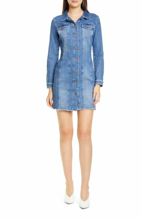 HUGO Long Sleeve Denim Minidress