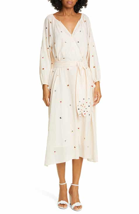 THE GREAT. The Derby Embroidered Long Sleeve Midi Dress