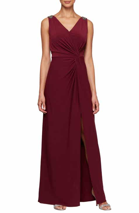 abcd25102d64a Alex Evenings Jeweled Shoulder Twist Front Gown (Regular & Petite)