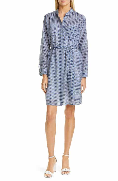 834e3d9c Equipment Ravena Print Long Sleeve Silk Blend Shirtdress