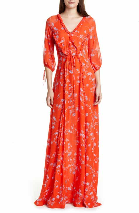 NICHOLAS Tie Back Ruffle Maxi Dress