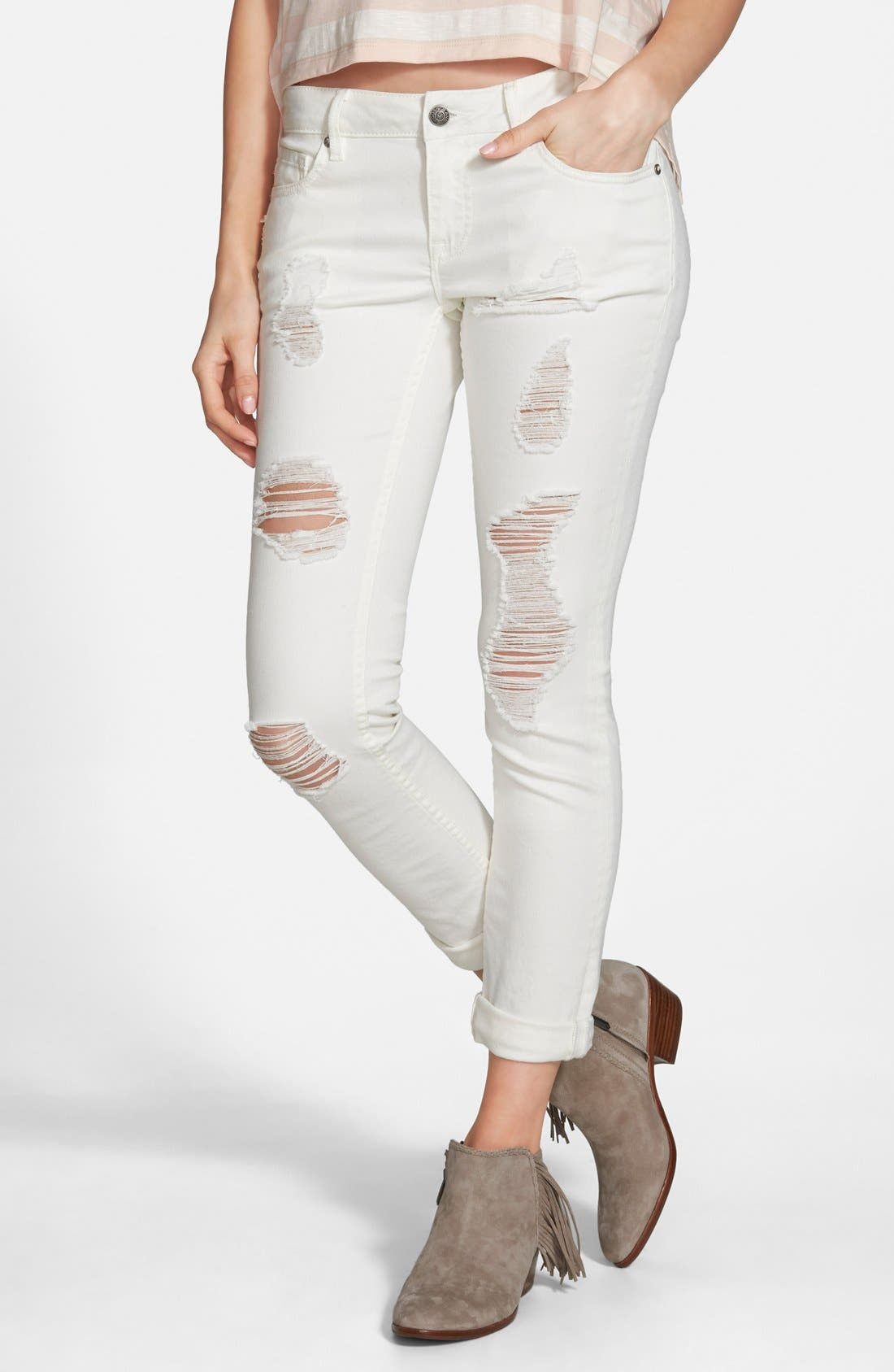 Main Image - Vigoss 'Tomboy' Destroyed Skinny Jeans (Off White)