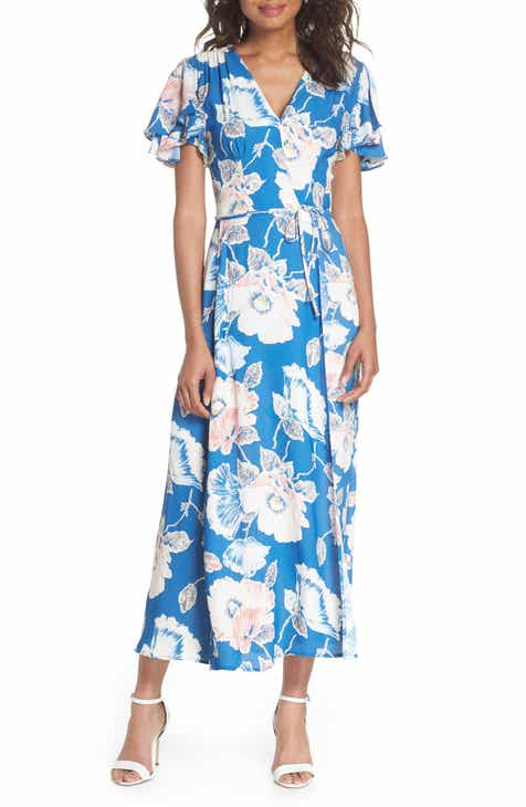 French Connection Cari Floral Flounce Sleeve Crepe Maxi Dress by FRENCH CONNECTION