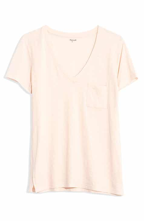 471c2776 Madewell Whisper Cotton V-Neck Pocket Tee (Regular & Plus Size)
