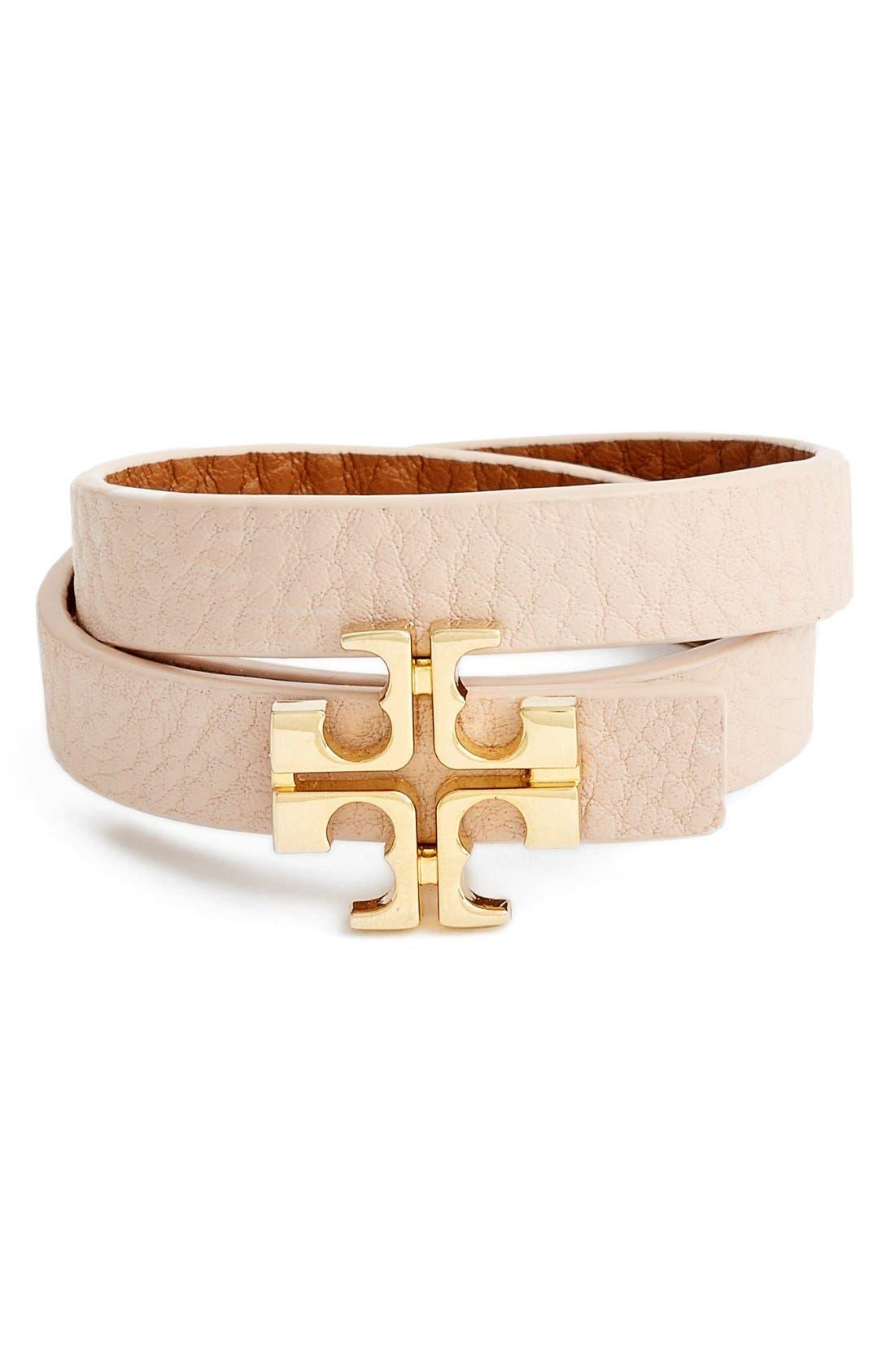 Main Image - Tory Burch 'Split T' Reversible Leather Wrap Bracelet
