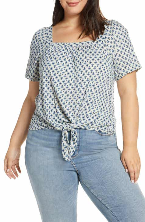 52692f4d60f Lucky Brand Print Tie Front Top (Plus Size)