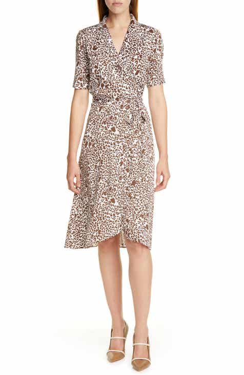 Lewit Print Silk Blend Wrap Dress