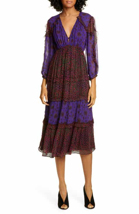 ba&sh Gypsie Pattern Mix Midi Dress