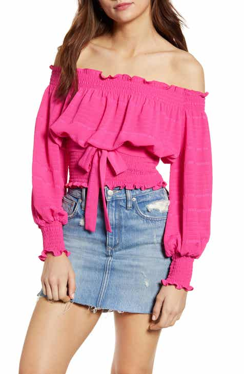 a632d02e503 WAYF Audrey Off the Shoulder Smocked Long Sleeve Top