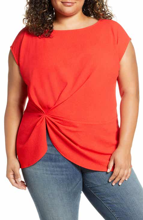 Vince Camuto Side Cinch Top (Plus Size)