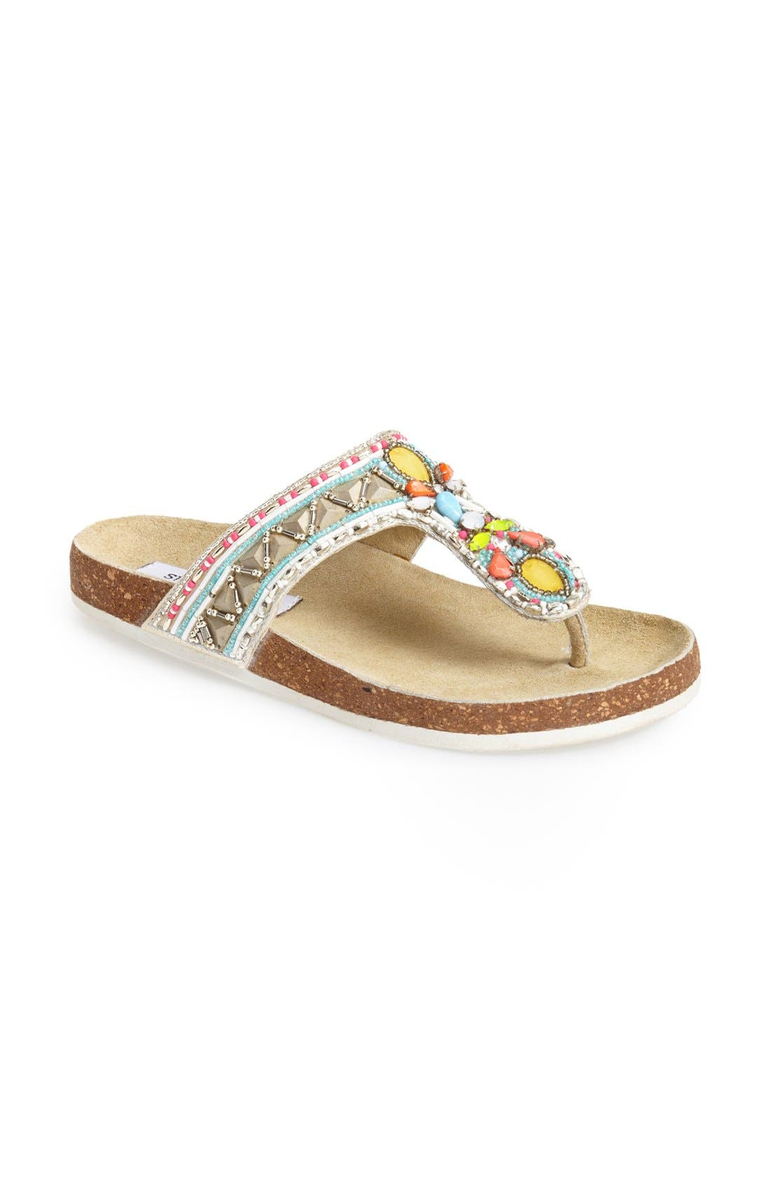 Alternate Image 1 Selected - Steve Madden 'Fiessta' Embellished Thong Sandal (Women)