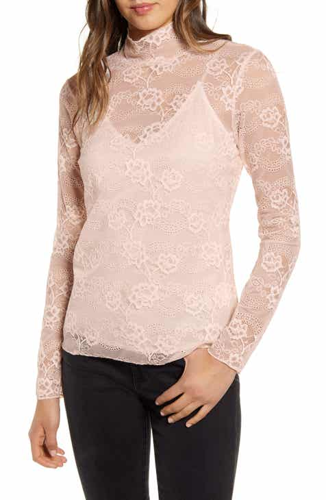 37c3a479d Chelsea28 Sheer Lace Mock Neck Top