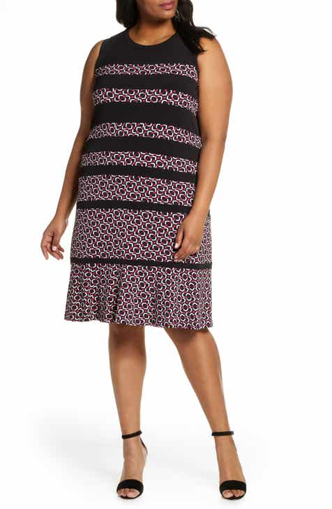 d930fc88b5c909 MICHAEL Michael Kors Stripe Sleeveless Shift Dress (Plus Size)