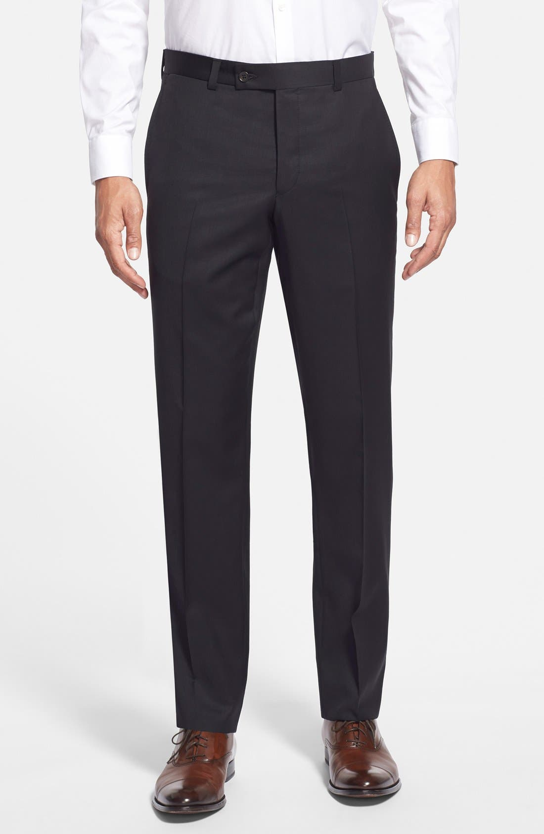 Jefferson Flat Front Wool Trousers,                             Main thumbnail 1, color,                             New Black