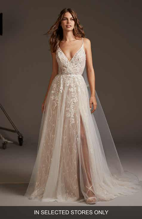 f1c79e9f8 Pronovias Hyperion Embellished Tulle A-Line Wedding Dress