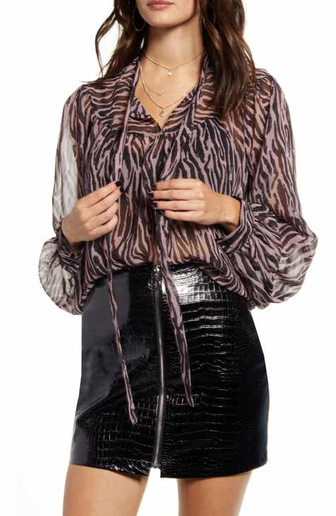 Endless Rose Zebra Print Front Tie Blouse