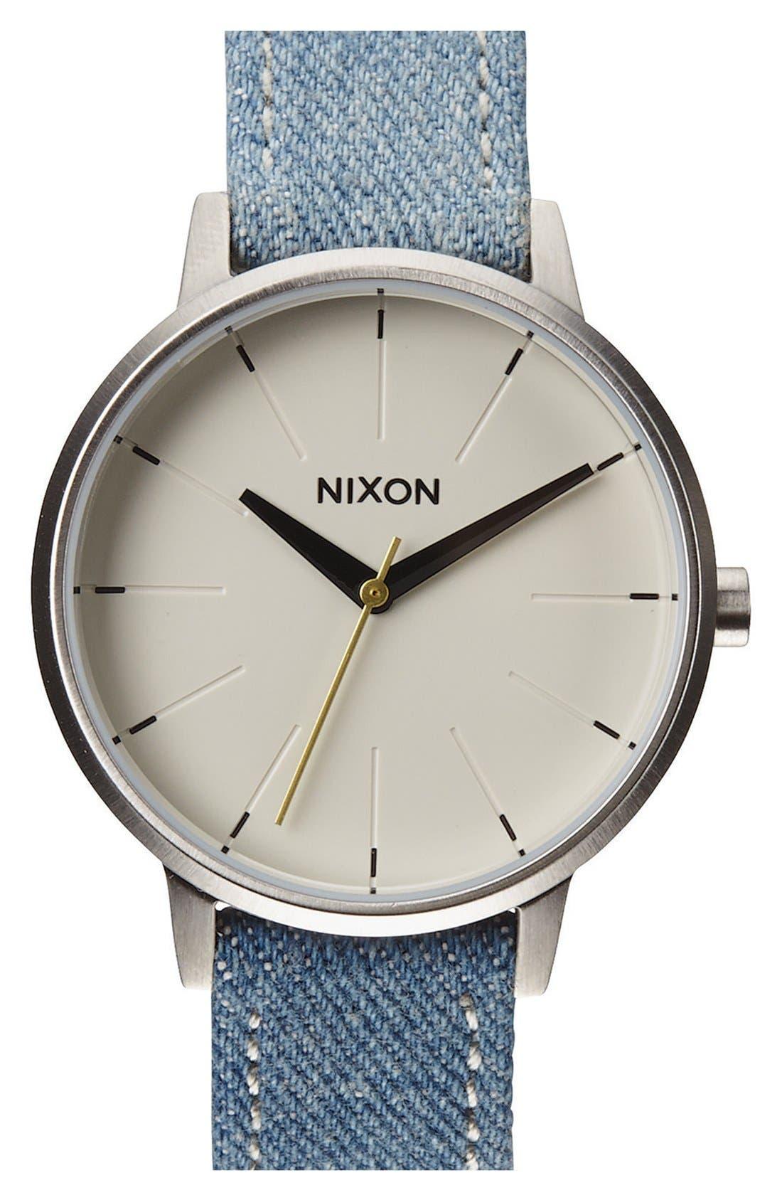 Main Image - Nixon 'The Kensington' Denim Strap Watch, 37mm