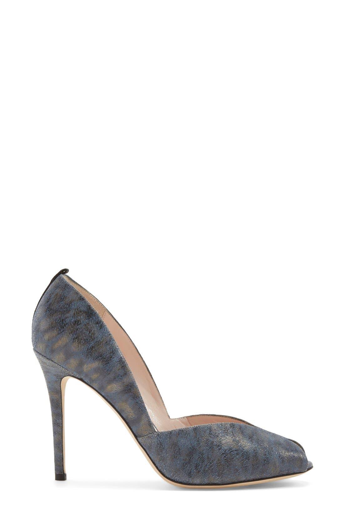 'Naomi' Peep Toe Pump,                             Alternate thumbnail 4, color,                             Blue Leopard Leather