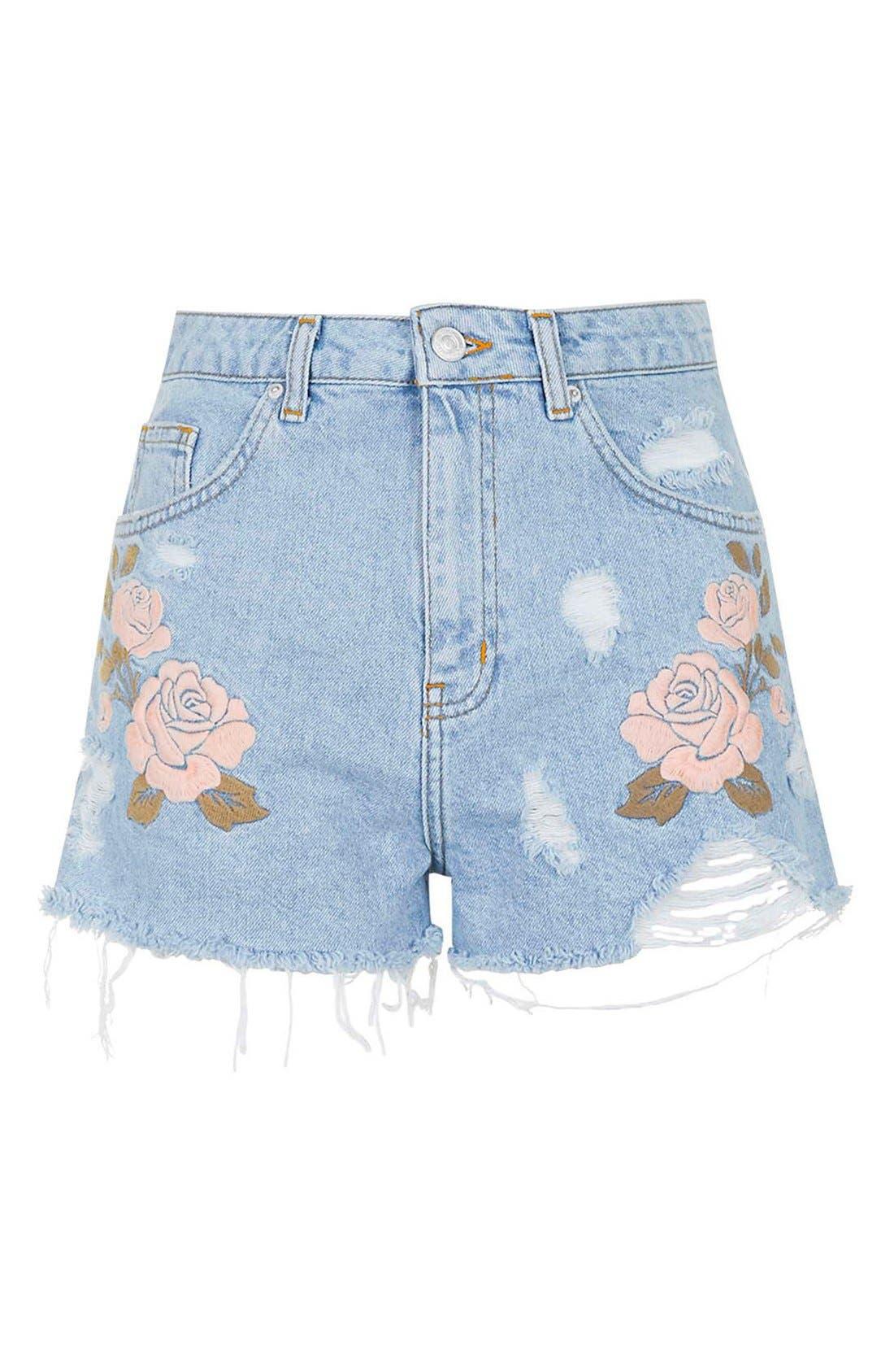 Alternate Image 3  - Topshop Moto Floral Embroidered Cutoff Denim Shorts (Light Denim)