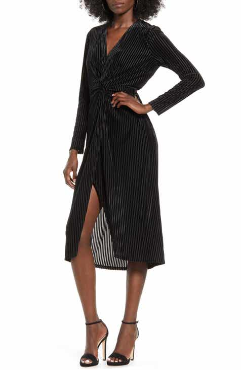 All in Favor Knot Long Sleeve Velvet Rib Midi Dress