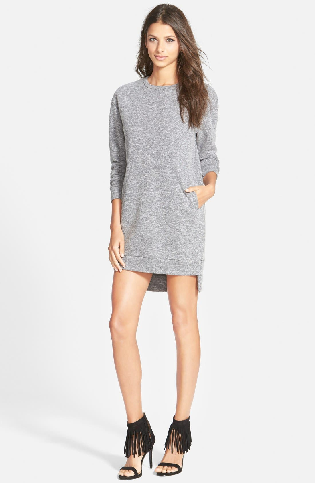 Sweatshirt Tunic Dress,                         Main,                         color, Grey Marl