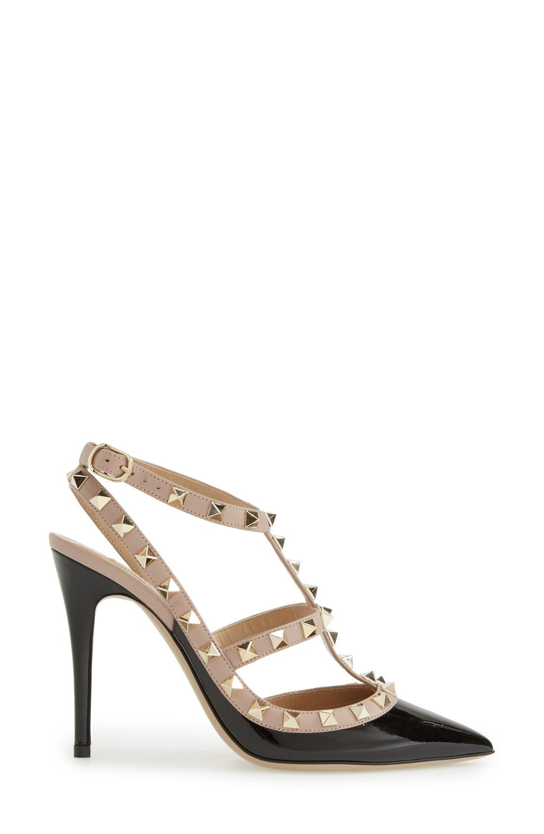 Rockstud T-Strap Pump,                             Alternate thumbnail 4, color,                             Black/ Blush Patent