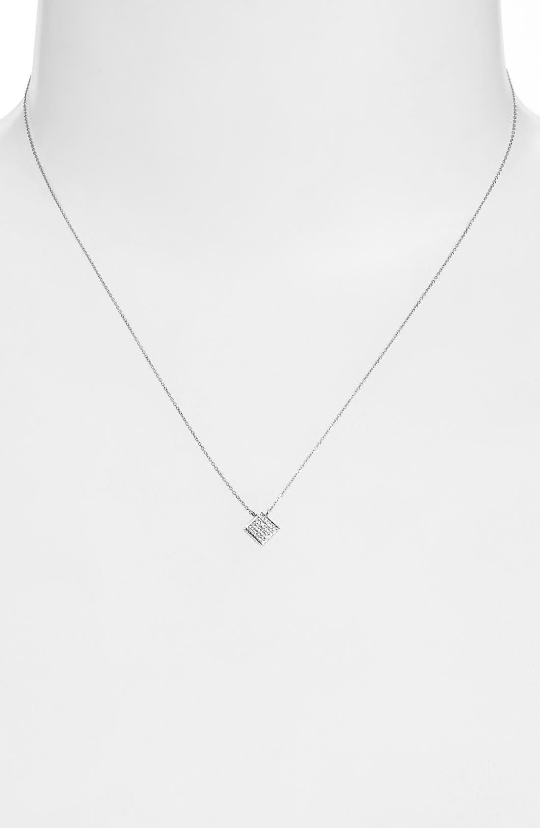 'Lisa Michelle' Diamond Pavé Square Pendant Necklace,                             Alternate thumbnail 2, color,                             White Gold