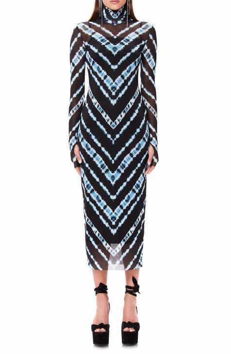 AFRM Shailene Long Sleeve Print Mesh Dress