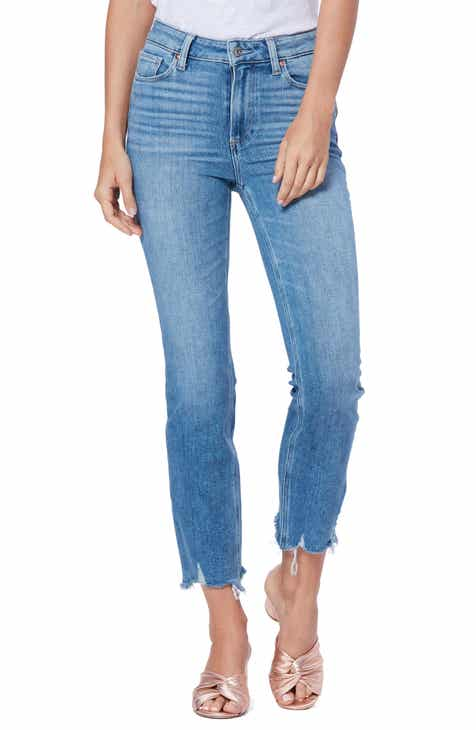 Paige Cindy High Waist Destroyed Hem Straight Leg Jeans (Mel)