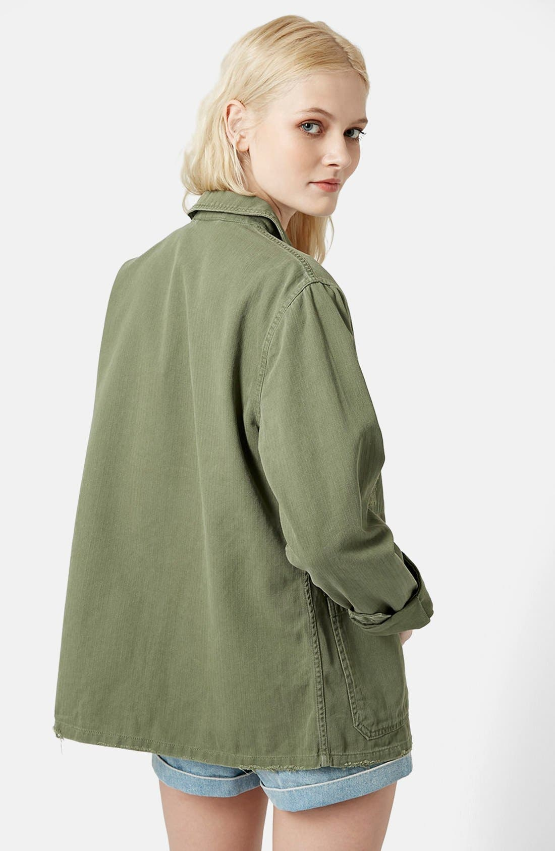 'Saunders' Long Shirt Jacket,                             Alternate thumbnail 2, color,                             Olive