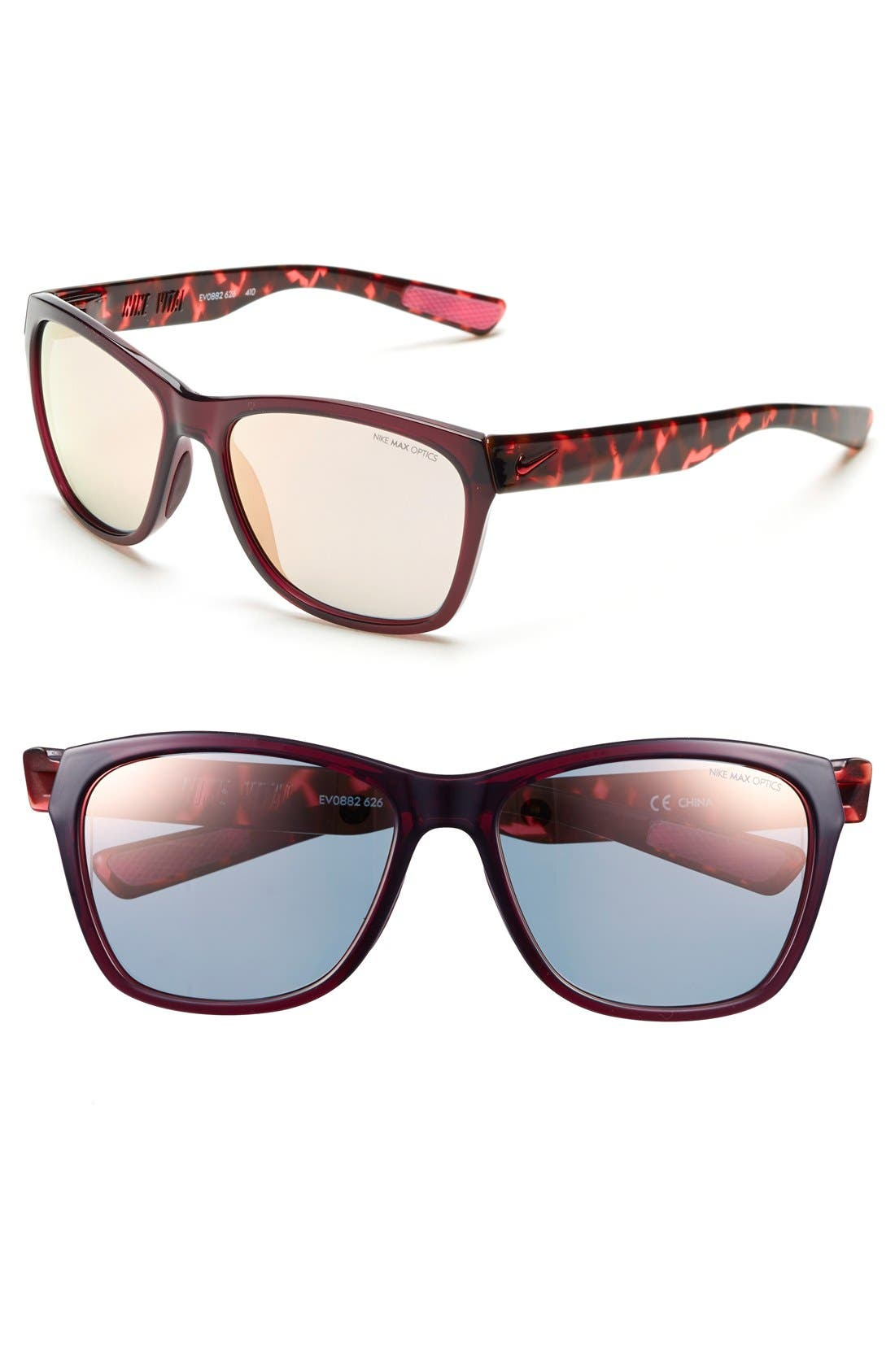 'Vital' 58mm Sunglasses,                         Main,                         color, Burgundy/ Hyper Pink Tortoise