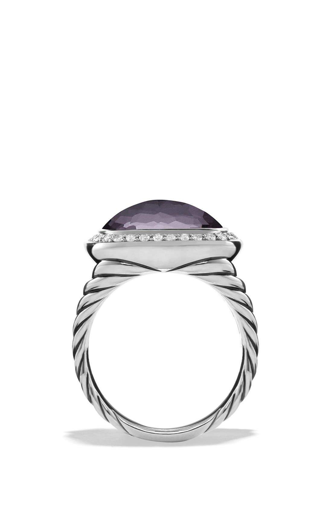 'Albion' Ring with Semiprecious Stone and Diamonds,                             Alternate thumbnail 2, color,                             Amethyst/ Hematine