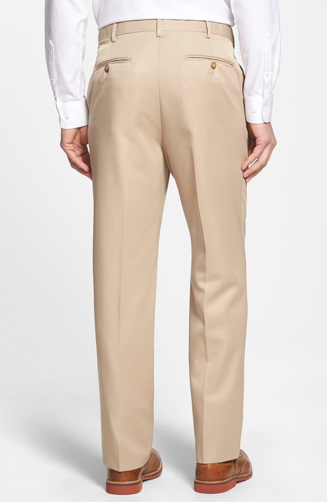 Self Sizer Waist Flat Front Trousers,                             Alternate thumbnail 3, color,                             Tan