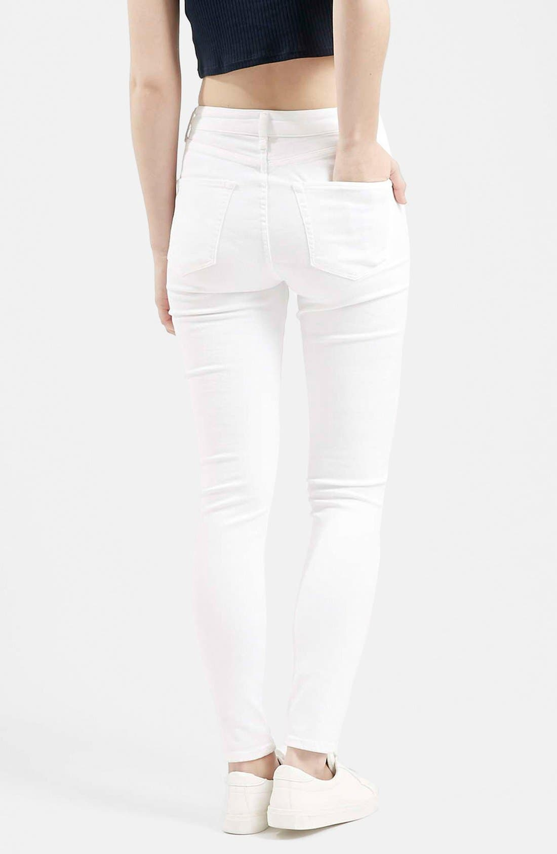 Alternate Image 2  - Topshop Moto 'Jamie' Busted Skinny Jeans (White)