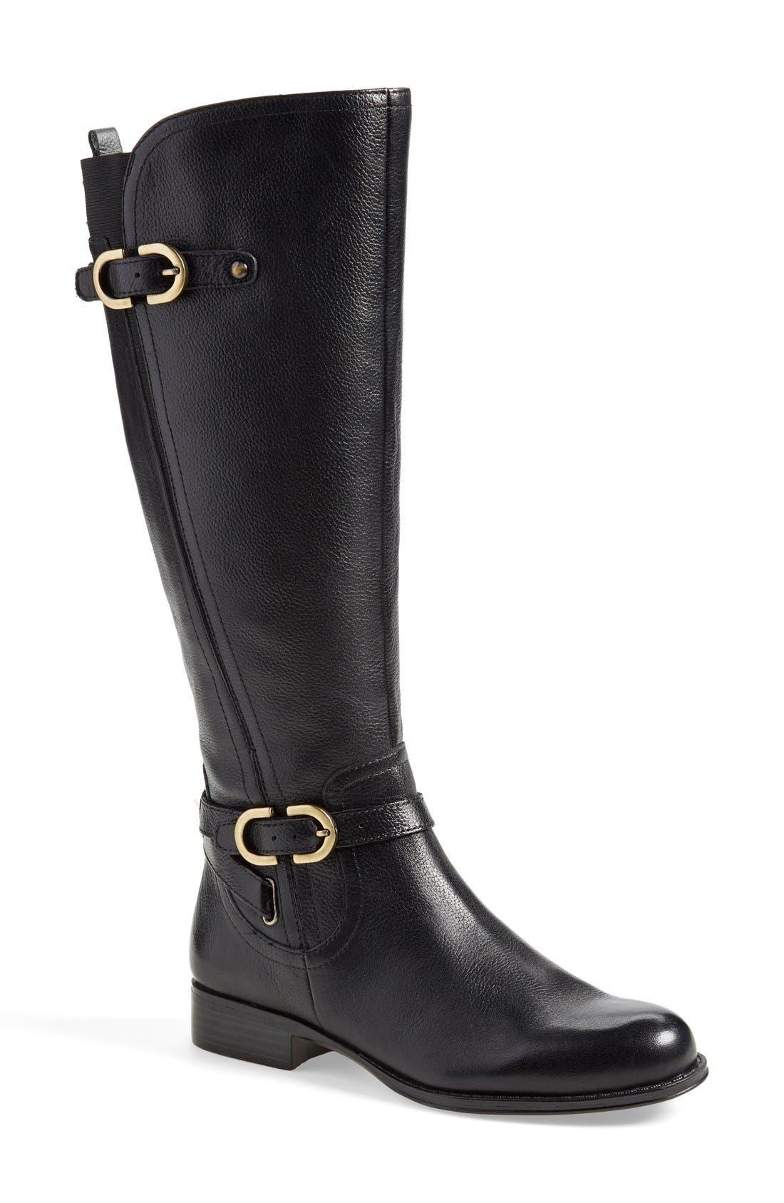 'Jennings' Knee High Boot,                             Main thumbnail 1, color,                             Black Leather