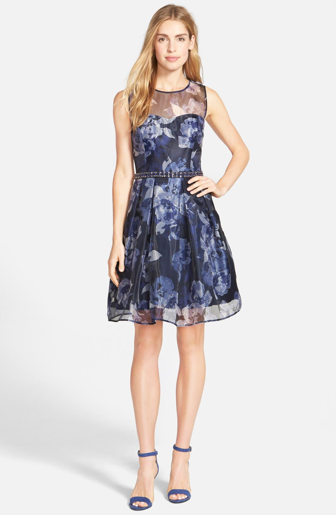 Alternate Image 3  - Eliza J Embellished Print Illusion Yoke Organza Fit & Flare Dress (Regular & Petite)
