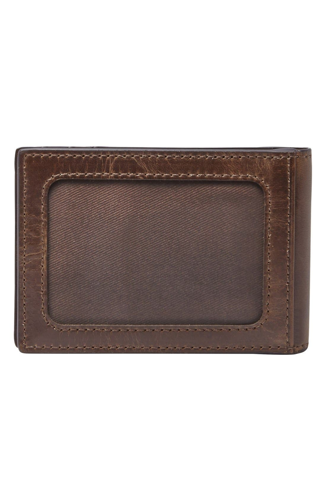 Alternate Image 3  - Fossil Derrick Leather Money Clip Bifold Wallet