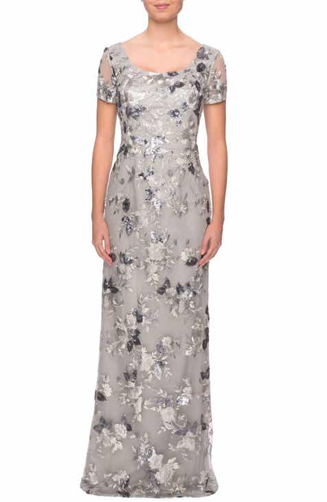 La Femme Sequin Lace Embroidered Gown