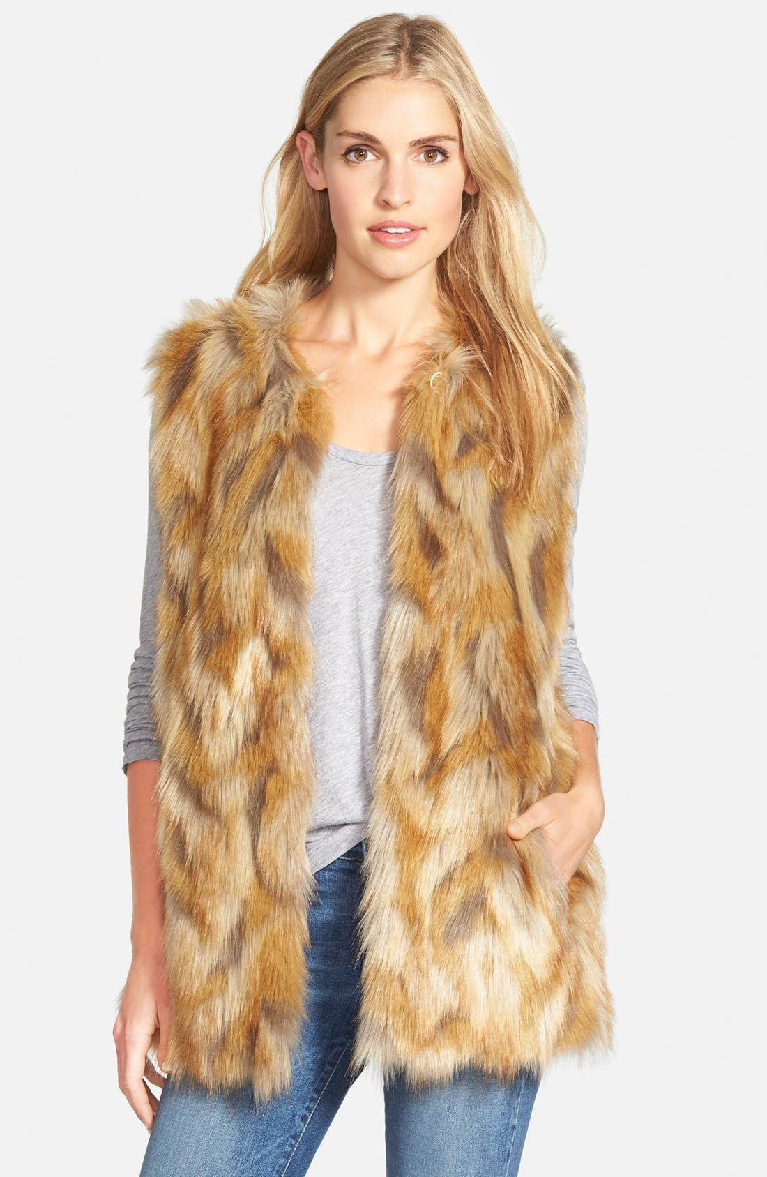 Alternate Image 1 Selected - Bernardo Retro Patchwork Faux Fur Vest