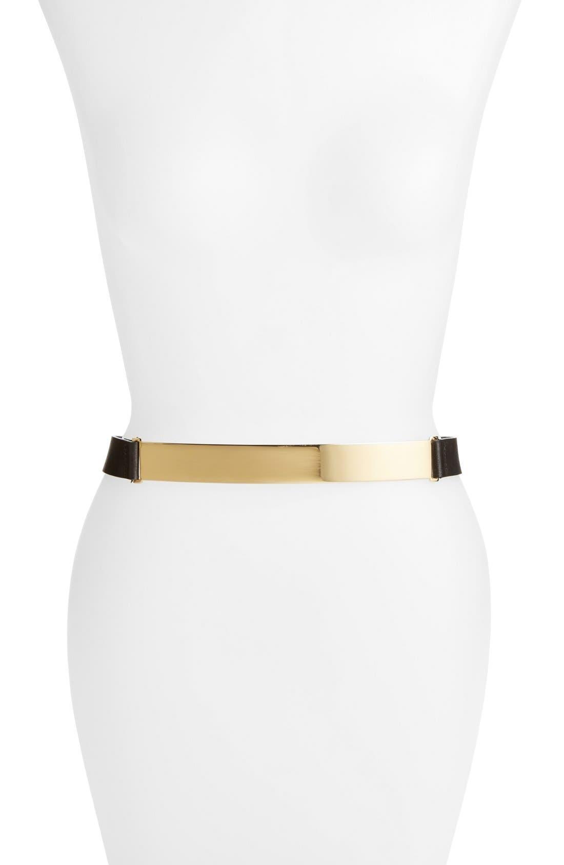 Alternate Image 1 Selected - Halogen® Metal Plate Leather Belt