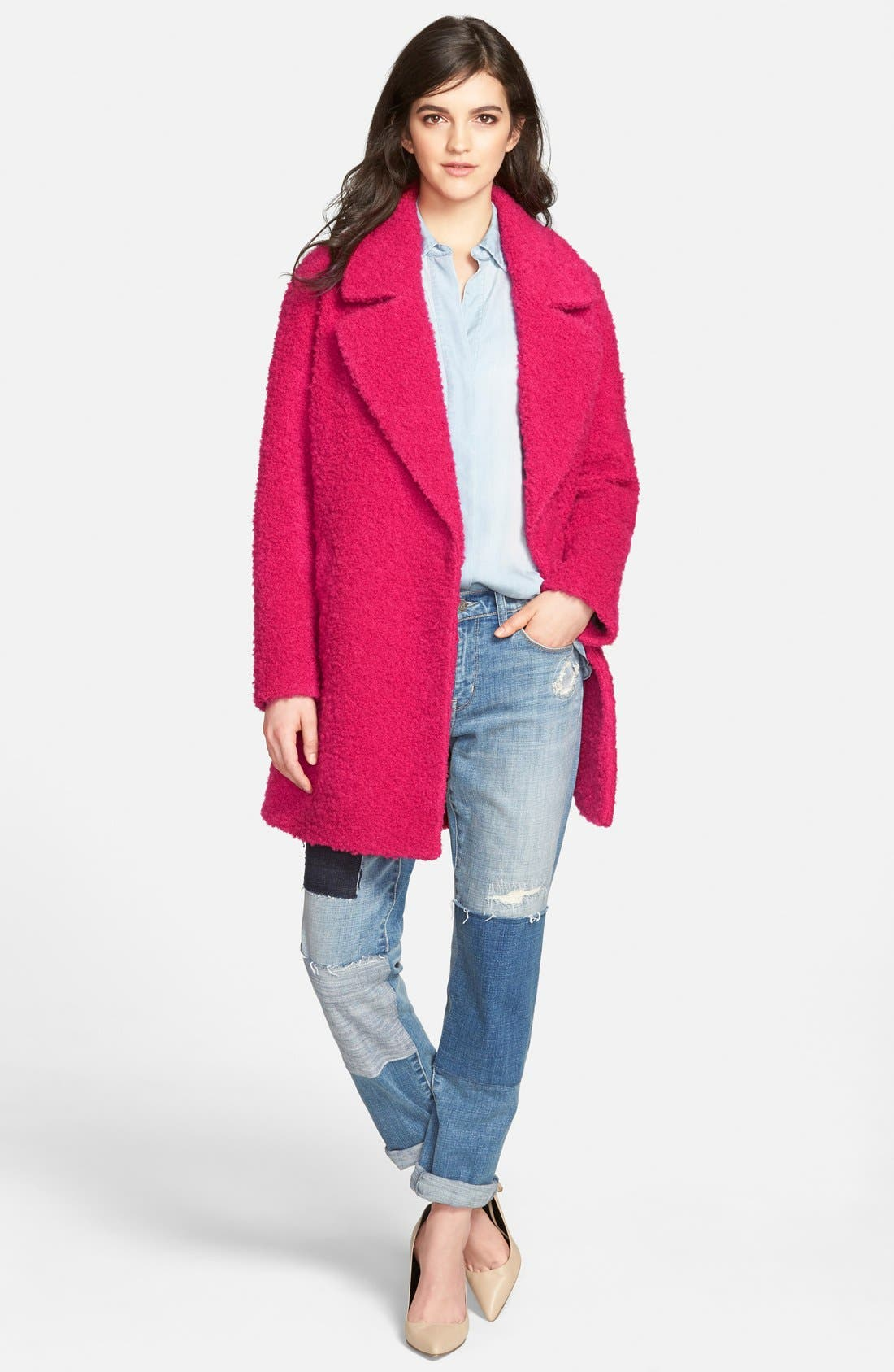 Alternate Image 4  - Betsey Johnson Notch Collar Bouclé Coat