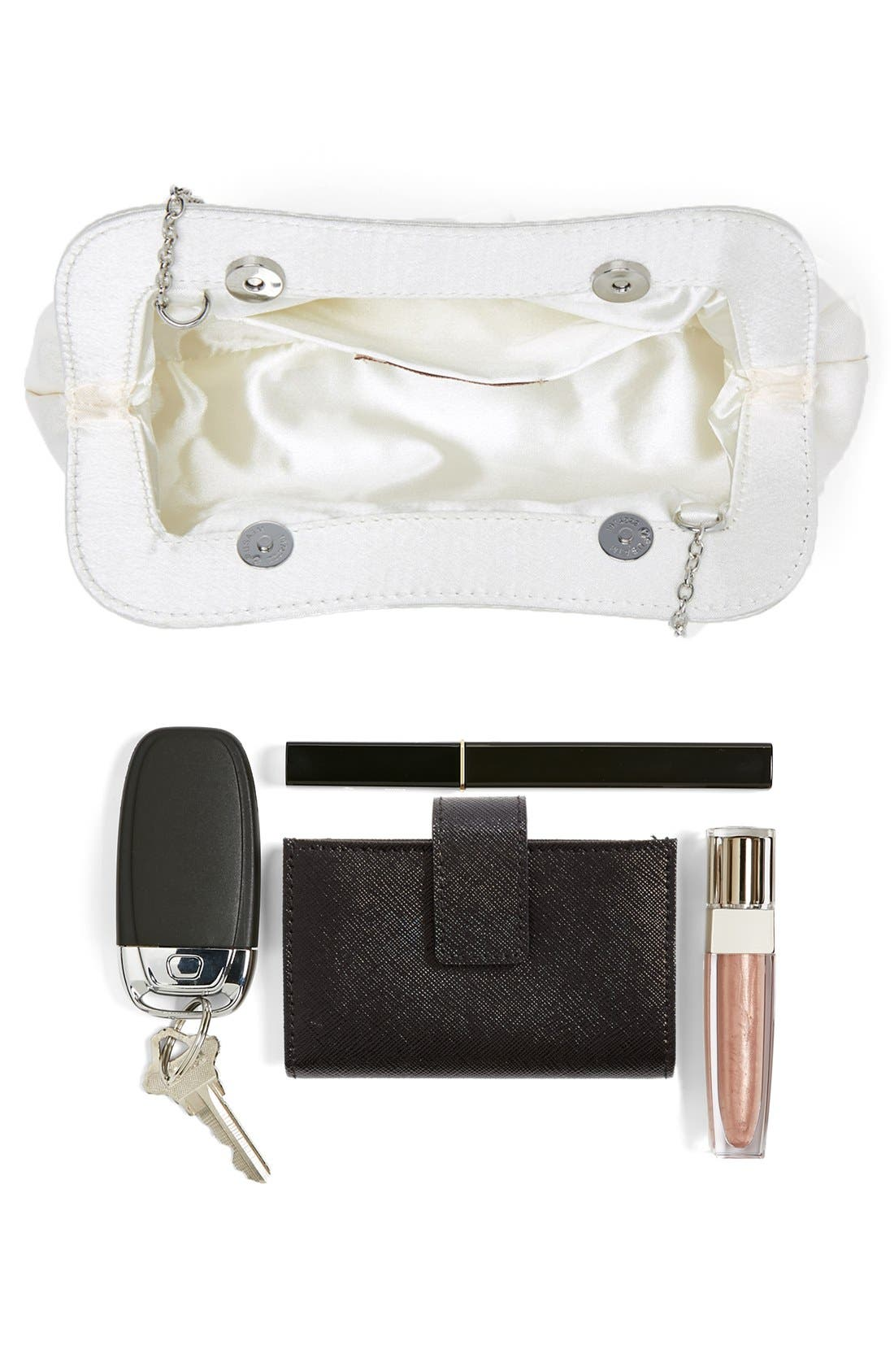 Satin Frame Clutch,                             Alternate thumbnail 5, color,                             Ivory