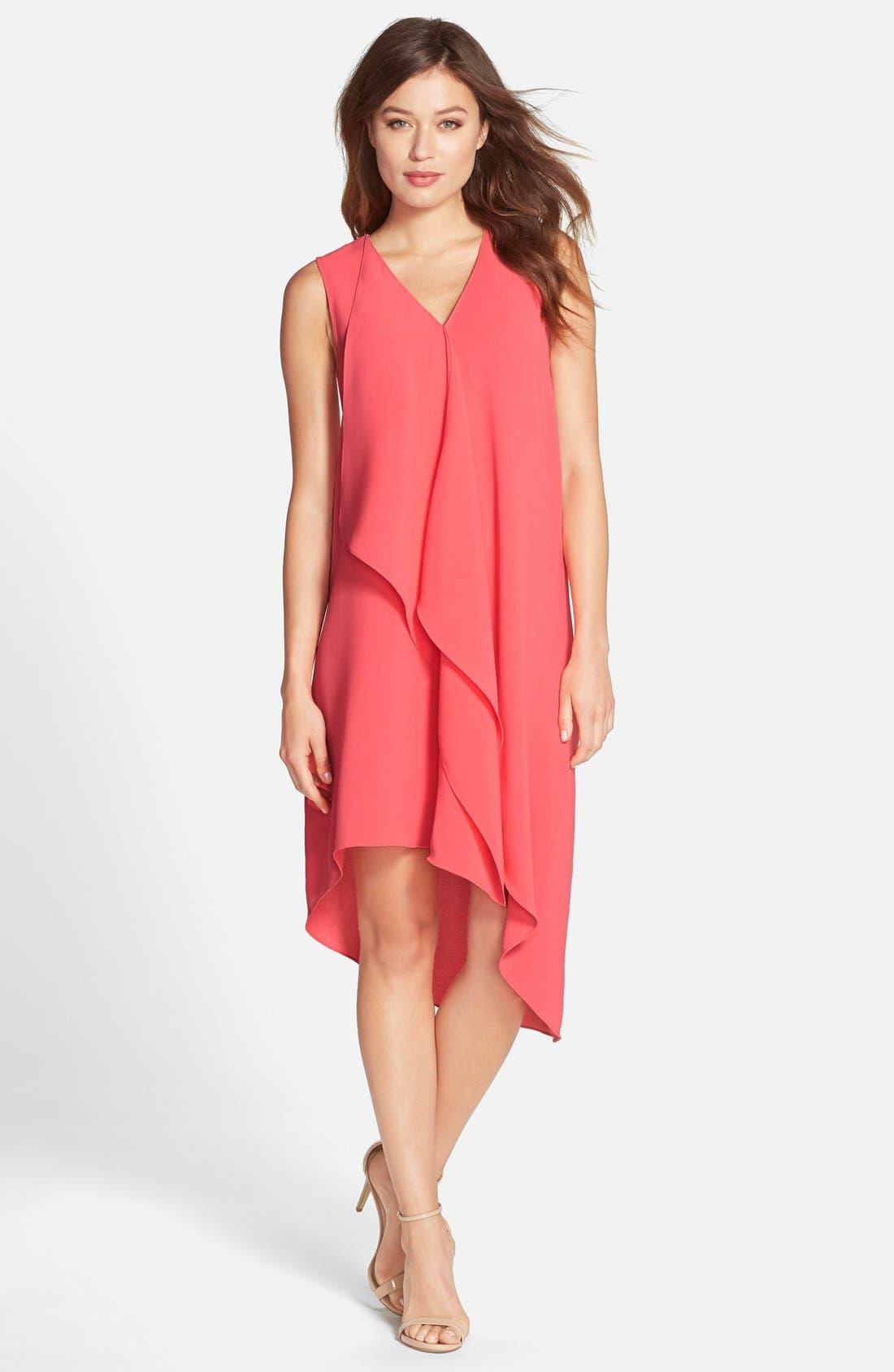 Ruffle Front Crepe High/Low Dress,                         Main,                         color, Grapefruit