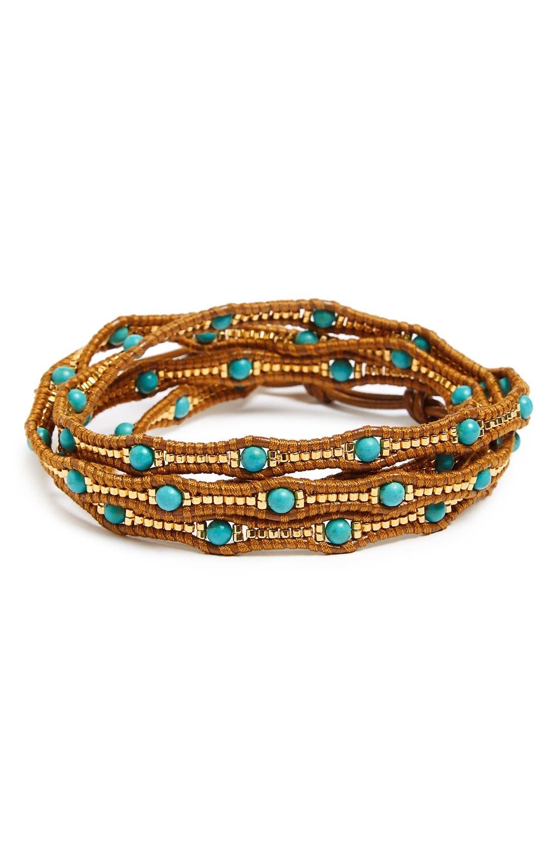 Alternate Image 1 Selected - Chan Luu Graduated Beaded Leather Wrap Bracelet