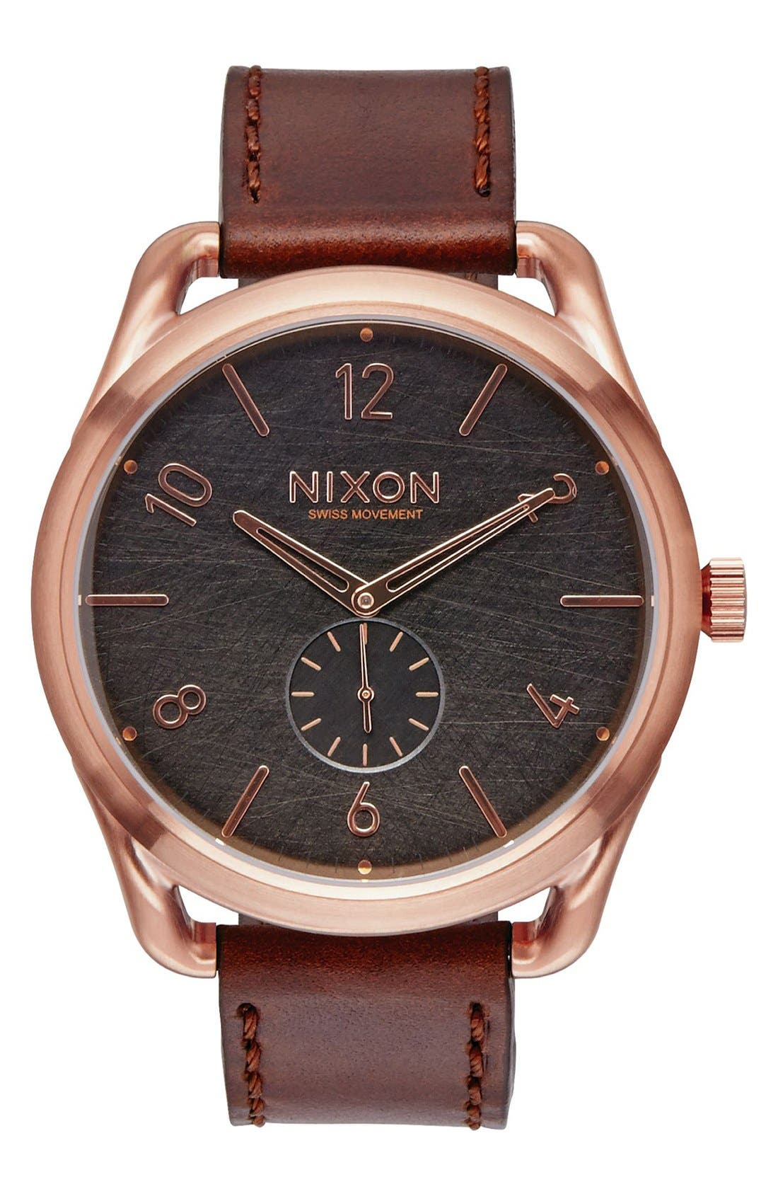 'The C45' Leather Strap Watch, 47mm,                         Main,                         color, Brown/ Rose Gold