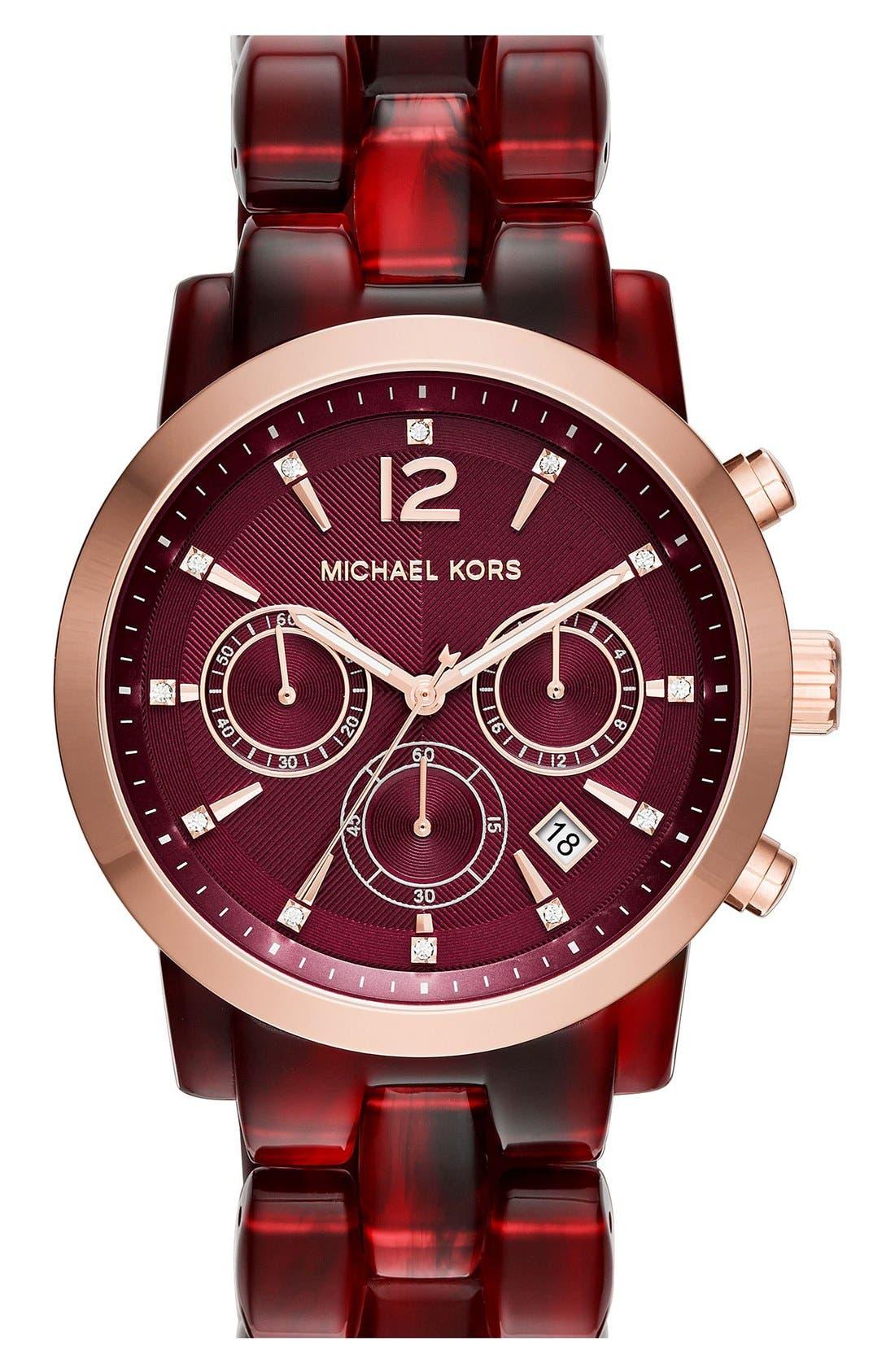Alternate Image 1 Selected - MICHAEL Michael Kors 'Audrina' Chronograph Bracelet Watch, 42mm