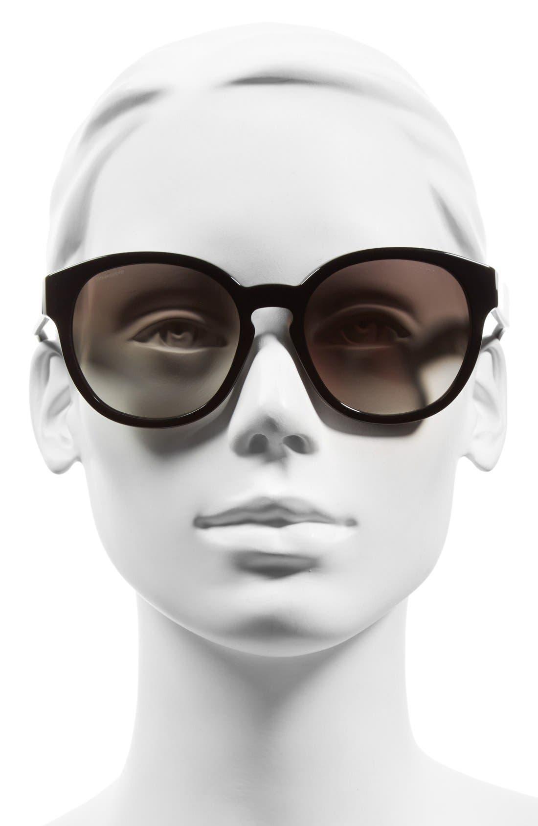 56mm Keyhole Sunglasses,                             Alternate thumbnail 2, color,                             Black